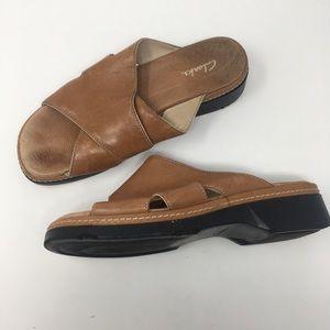 Clarks Tan Leather Platform Sandals